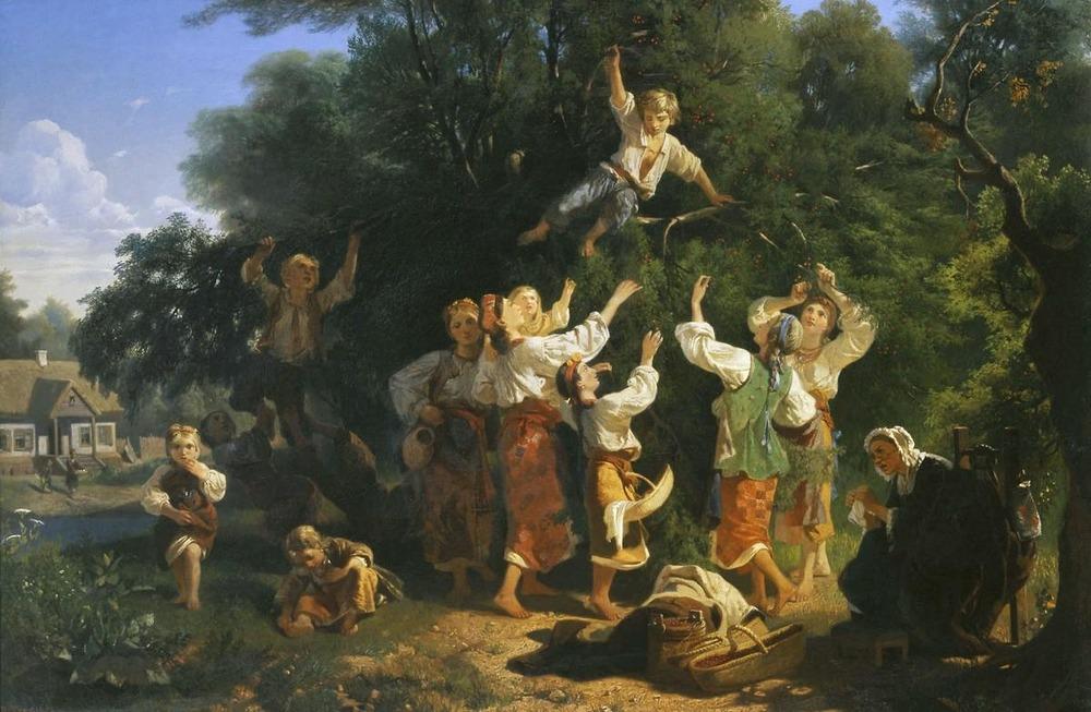 Сбор вишни в помещичьем саду на Украине. 1858